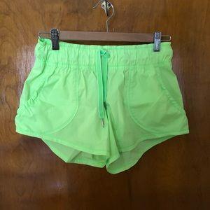 Lululemon neon green, no liner, running shorts